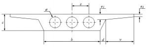 """Sección tipo de tablero de puente losa en """"ala de gaviota"""" y aligeramientos."""