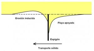Efectos de un espigón en el transporte sólido de sedimentos