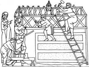 Construyendo una iglesia en el siglo XIV. (Jensenius, 2000)