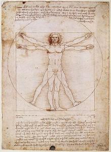 Hombre de Vitruvio, dibujo de Leonardo da Vinci, expresión del canon estético renacentista.