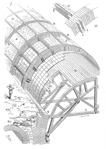 Proceso de cimbrado en la construcción de una bóveda romana.Eugène Viollet-le-Duc (1856).