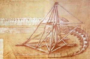 Boceto de grúa ideada por Leonardo da Vinci