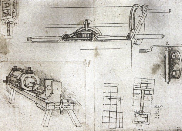 Figura. Máquina de perforación horizontal ideada por Leonardo da Vinci, antes de 1495. Fuente: http://trenchless-australasia.com/