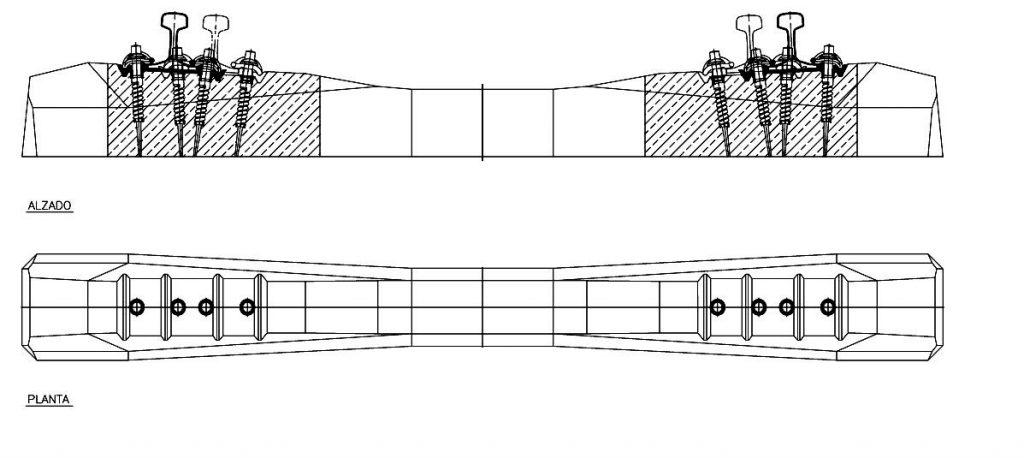 Trazado esquemático de las traviesas polivalentes. ADIF. Fuente: http://www.adif.es/